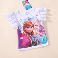 Wholesale - 2014 Elsa and Anna Girls short sleeve Cotton t-shirt kids cartoon summer clothing top tees Frozen t shirt