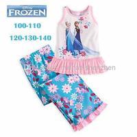 Wholesale - Girls Frozen Princess Pajamas Sets Kids Autumn -summer Clothing Set New 2014