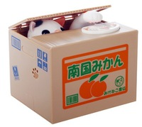 Freeshipping by CPAM new arrival Automated cat steal coin piggy bank / saving money box / coin bank / kids gift JZ389