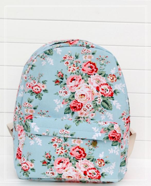 New Hot Flower Backpack Sky Blue Knapsack Rucksack Backpack Girl's Canvas Backpack Schoolbag(China (Mainland))