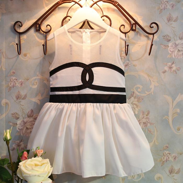 2T-8T new 2014 kid & girl summer dress girls european dress children party baby girl's sleeveless Yarn Chiffon formal dresses(China (Mainland))