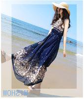 The New 2014 Women's Sleeveless Floral Chiffon Dress Bohemian Dress Beach Print Dresses Dress High Quality Women Clothing GE535