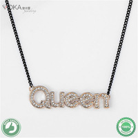 Queen Letter Necklaces& Pendants 18K Gold Pendant Jewelry Made with Austria Crystal SWA Elements For Women Free Shipping
