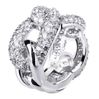 chain shape women ring 2014 latest model cubic zirconia setting jewelry best for girlfriends gift.