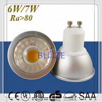 20pcs/Lot Super Bright Dimmable GU10 led 6W 7W COB LED Spotlight bulbs Ra>80 Replace 70W halogen lamp 3 Years Warranty