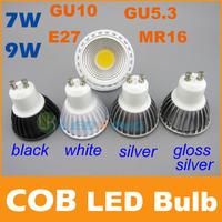 Quality COB LED Bulb 7W 9W Black White shell high brightness Lamp GU10 E27 MR16 AC85-265V/DC 12V LED COB Spotlight downlight