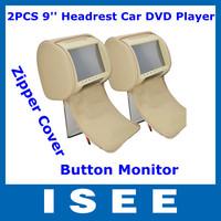 2Pcs 9'' Digital Touch Button Monitor Pillow Headrest Car DVD Player with Zipper Cover