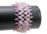rose quartz Chip Beads Knitted Cuff Bracelet WBB047