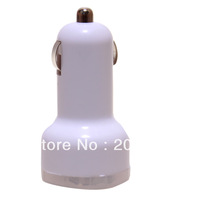 2014 NWW white Dual USB Port Car Charger Adapter 2.1A 5V For iPhone 5 4 4S Samsung Galaxy free shipping