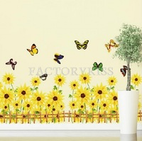 Free Shipping Removable Sunflowers Butterfly Fence Wall Sticker Art Decal Home Decor [5.5 4007-693]