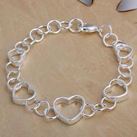 Wholesale H141 Classic 925 Sterling Silver Beautiful Heart Bracelet Chain,Top Jewelry Bracelet Free Shipping