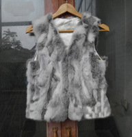 New Free Shipping Real Genuine Natural Rabbit Fur Vest Female Women Fur Coat Vest Short Design Waistcoat Low Low FP216