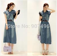 2014 fashion elegant oversize short sleeve vintage casual slim denim long dresses with belt free shipping best selling