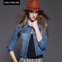 New 2014 spring denim outerwear female long-sleeve short jacket design chaqueta top Women's Clothing