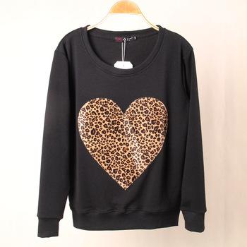 Модный Brand Женщины Leopard LOVE Heart Printed Sweatshirt Hoody Hoodies tracksuits ...