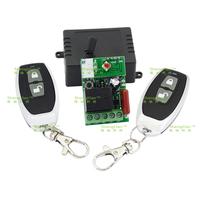 AC 220V 1 RF Wireless Remote Control Switch + (2PCS) Luxury metallic small pepper 2 button wireless remote control