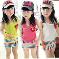Free shipping Summer Children clothing girl skirt 3 color vest dress striped line dress clothing