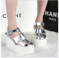 Free shipping women sandals ultra-high Korea slope waterproof sandals with thick soled heels hollow sandals  wedges shoes