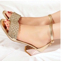 Fashion summer sandals rhinestone women's genuine leather thick heel open toe shoes women's shoes