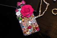 New DIY rose pink diamond checkered small fresh camellia phone case phone 4 4S 5 5S mobile phone bag leather chain Z254