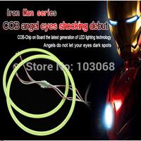 70mm Hot Iron Men Series COB Angel Eye Light LED Chip Car Light 100% Waterproof LED Car Headlight Light Free Shipping