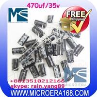 100pcs/lot Aluminum electrolytic capacitance 470UF/35V