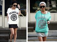 New 2014 Korean Women Sundress Two-Piece Dress Short Sleeve Round Neck Print Letter Pattern Casual Sports Summer Clothing