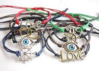 2014 New Fashion Love Turkish evil eye heart Infinity Anchor Bracelet Gift For Girl Women Free Shipping