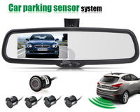 New Car Video Parking Sensor 9431 Car Detector Radar System + Rear view Mirror TFF LCD Minotor  P0014423 Free Shipping