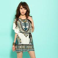 New 2014 fashion loose shirt women casual dress Ice silk cotton short sleeve tunics vintage bohemian dresses plus size