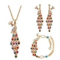 2014 Fashion Crystal Jewelry Sets for Women Elegant Crystal Peacock Earrings + Necklace + Bracelet ML-442-4
