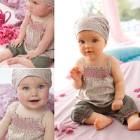 3pcs New Free Shipping Baby Infant Girl Kid Headband+Top+Pants Shorts Floral Outfit Set Clothes #KS0149