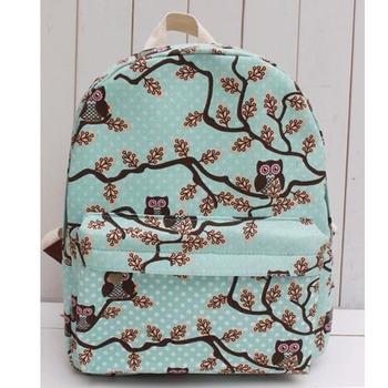 Бесплатная доставка 2014 NEW Сова рюкзак женские сумки холст мультфильм рюкзак случайные мешок школы YK80-218