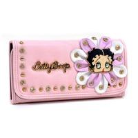 Betty Boop Wallet Women Wallet with Rhinestone Stud Flower Design Tri Fold Wallet High Quality Wallet Girls Purse