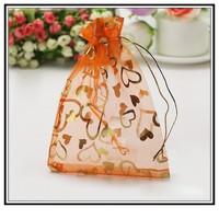 Fashion Desgin Wholesale Lot 100pcs 11x16cm Orange Wedding Gift Jewelry Bag Pouches Bag 005