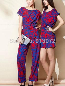 KZ415 Ladies' elegant Цветed geometric print jumpsuit Брюки Короткий Рукав Талия ...
