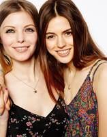 Best friends necklace, sinple star and moon pendant necklace for girls, friendship gold filled short neckalce