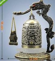 Gilt Bronze Native copper Tibetan Buddhist Chinese Bronze Brass sculpture Dragon Buddhism pray Bell