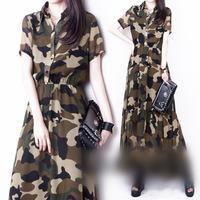 New Summer dress 2014 Women Casual Dress Amy Military Camouflage Printed Long Turn-down Collar Chiffon Dress Woman Ladies