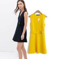 2014 New 2 colors Brief Elegant V-neck Sexy Sleeveless Women Dress Work Wear With belt summer Fashion Novelty Wholesale V3325