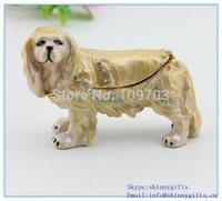 Free Shipping Wholesales dog shape fashionable rhinestone metal jewelry and trinket boxes