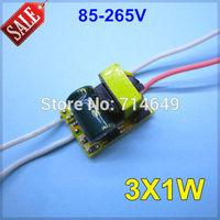 50pcs/lot, 85-265V input 3X1W led inside driver, 3W high power led driver, E27 GU10 E14 B22 lamp driver, 3*1w power driver