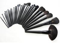 New 32pcs 32 pcs Cosmetic Facial Make up Brush Kit Persiano Makeup Brushes Tools Set Black Leather Case Black and Pink