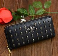 punk skull rivet long style fashion PU women wallets bag women leather female wallet free shipping