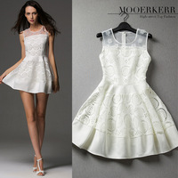 2014 spring and summer women's European and American style handmade nails flower \ hollow sleeveless dress
