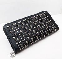 punk rock skull zipper long style fashion PU women wallets bag women leather female wallet free shipping