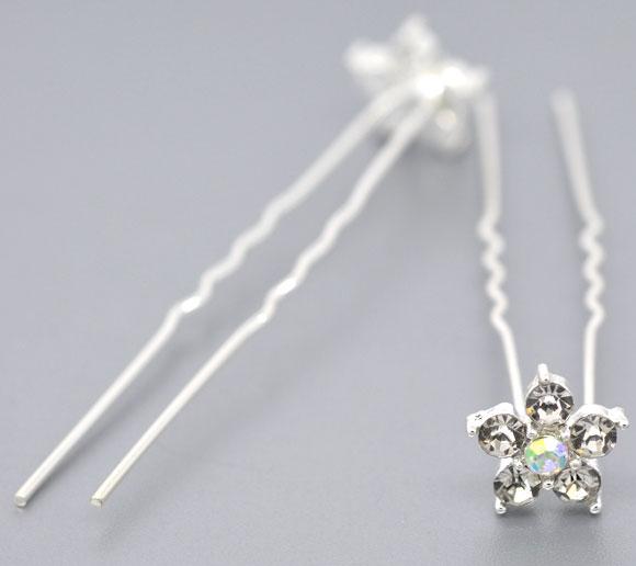 20 SP Rhinestone Flower Charms Wedding Hairpins 69x13mm(China (Mainland))