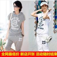 HR001 Short-sleeve sweatshirt female capris plus size summer 2014 casual shorts sportswear set