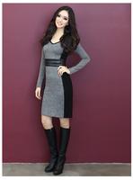 With Belt! 2014 Autumn Winter Brand Women's Dresses Plus size M-5XL Pullovers Long-sleeve OL Slim One-piece Dress