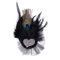 Heart full rhinestone peacock feather corsage brooch dance blazer